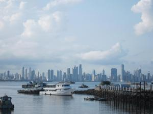Marina, boats, and the skyline of Panama City
