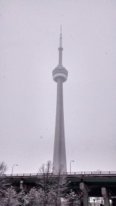 CN Tower in a storm, Toronto.