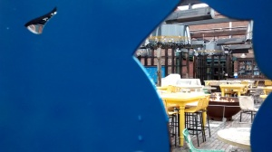 View through to a coffee shop, Distillery District, Toronto.